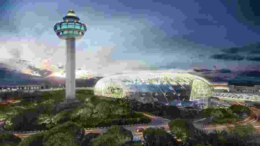 Vista externa do Jewel Changi Airport, em Singapura - Divulgação/Jewel Changi Airport Devt.