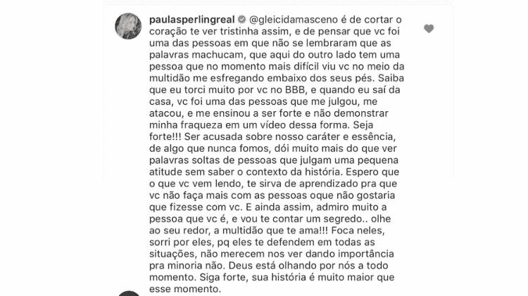 Paula Sperling escreve comentário para Gleici Damasceno  - Reprodução/Instagram - Reprodução/Instagram