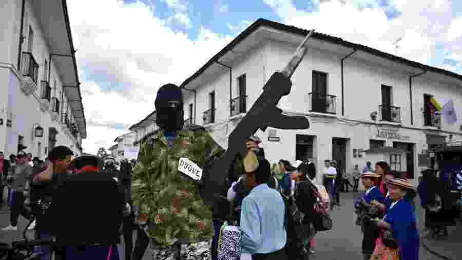 Cena dos protestos em Bogotá contra o governo do presidente colombiano Ivan Duque - AFP