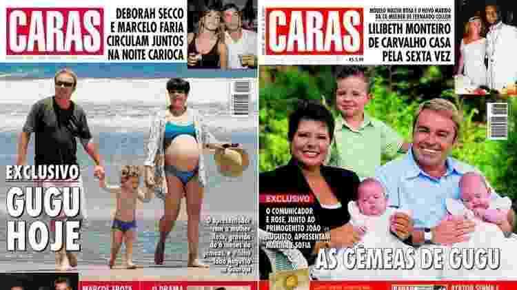 Segunda gravidez de Gugu e Rose estampou a revista Caras em 2003 - Montagem/UOL/Reprodução/Revista Caras