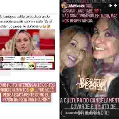 Amiga de Sarah defende a sister após ela revelar apoio a Bolsonaro - Reprodução/ Instagram - Reprodução/ Instagram