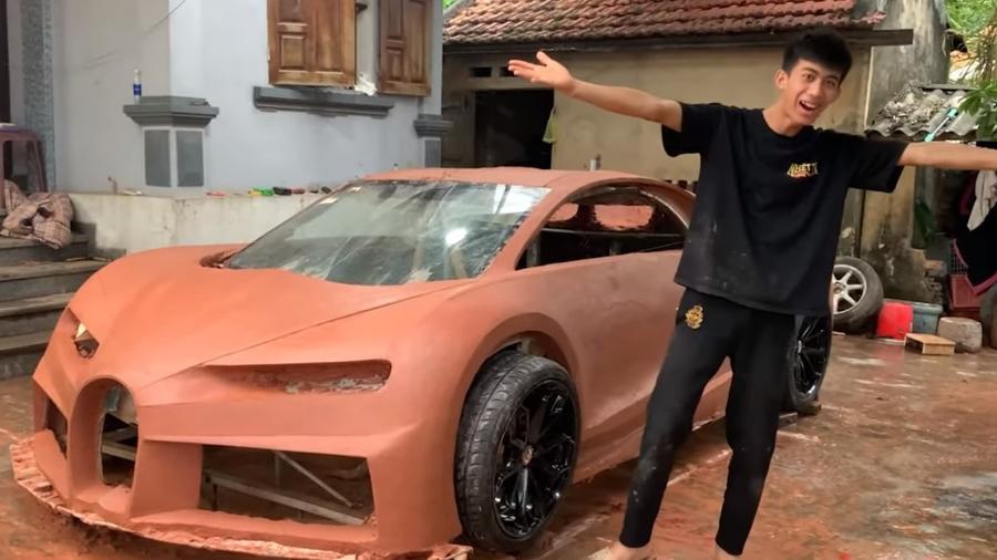 Bugatti Chiron feito de argila - Reprodução