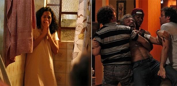 Domingas se desespera quando Juca, após expulso de casa, volta e arromba a porta