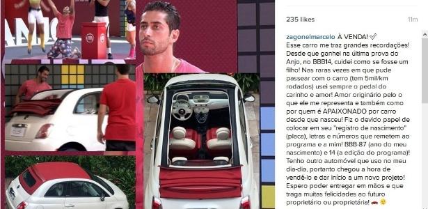 """Participante do """"BBB14"""", Marcelo Zagonel quer vender automóvel para abrir um negócio - Reprodução/instagram/@zagonelmarcelo"""