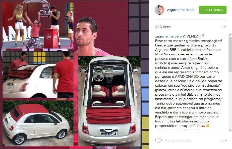 Marcelo Zagonel colocou o carro à venda para abrir um novo negócio