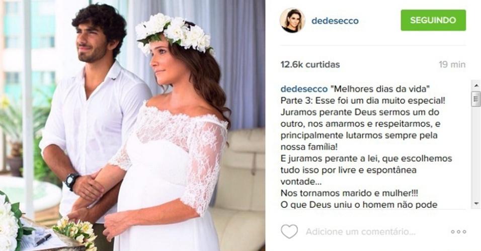 30.dez.2015 - Deborah Secco compartilha foto de seu casamento com Hugo Moura. Na imagem, ela ainda estava grávida da primeira filha do casal, Maria Flor