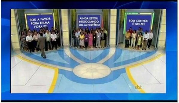 24.abr.2016 - Silvio Santos brinca com votação do impeachment