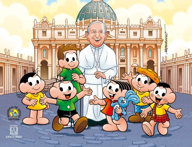 """Capa do livro """"Turma da Mônica Visita o Papa"""" - Divulgação"""