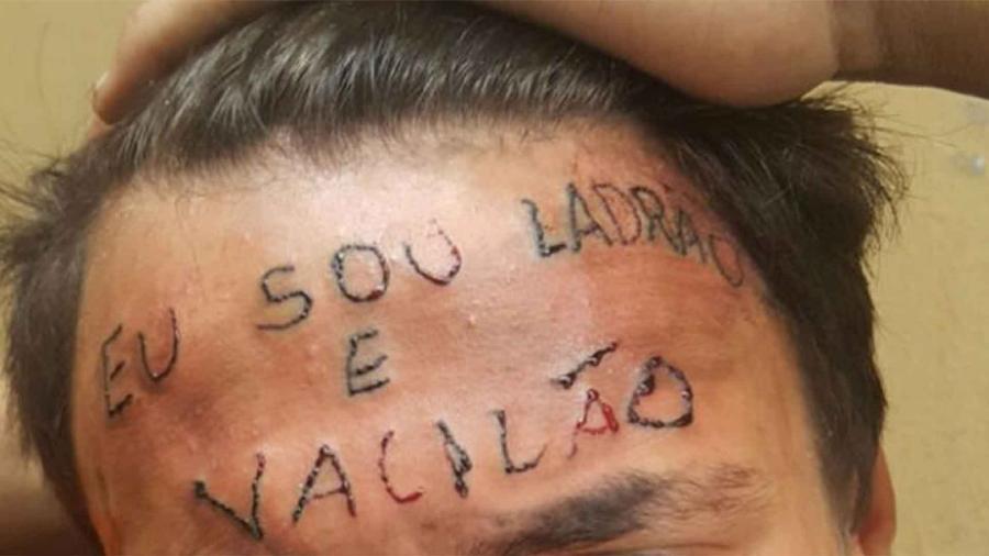Adolescente teve a testa tatuada após ser acusado de roubo em São Bernardo do Campo - Reprodução/Twitter