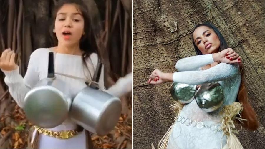 Melody tenta copiar figurino de Anitta em clipe - Reprodução/YouTube