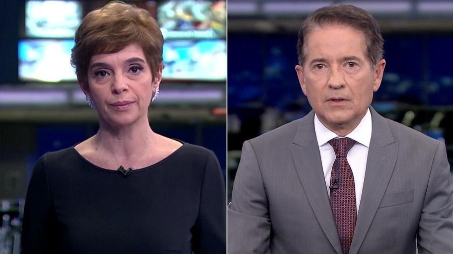 """Renata Lo Prete e Calos Tramontina, substitutos de William Waack no """"Jornal da Globo"""" - Reprodução/TV Globo"""