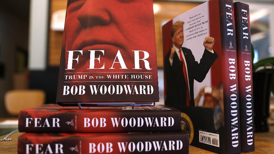 "Capa do livro ""Fear"", escrito por Bob Woodward  - Justin Sullivan/Getty Images/AFP"