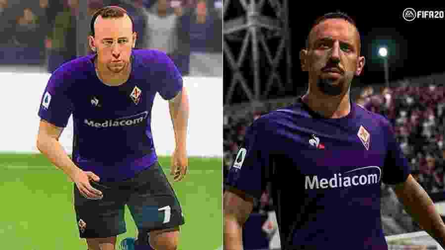 """À esquerda, o """"antigo"""" Ribéry no FIFA; à direita, a versão do atleta na atualização da EA  - Reprodução/Twitter / Reprodução/EASports"""