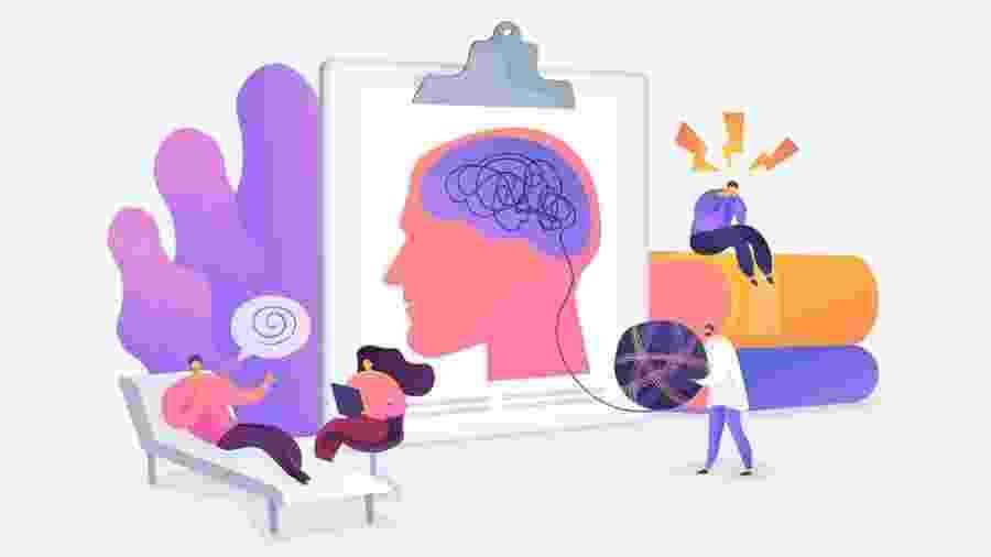 Ilustração mostra várias situações relacionadas à saúde mental - GETTY IMAGES via BBC