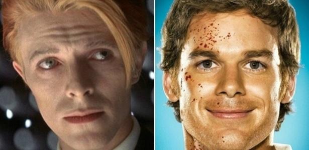"""David Bowie (à esq.), em """"O Homem que Caiu na Terra"""" (1976) e Michael C. Hall, em """"Dexter"""" - Montagem"""