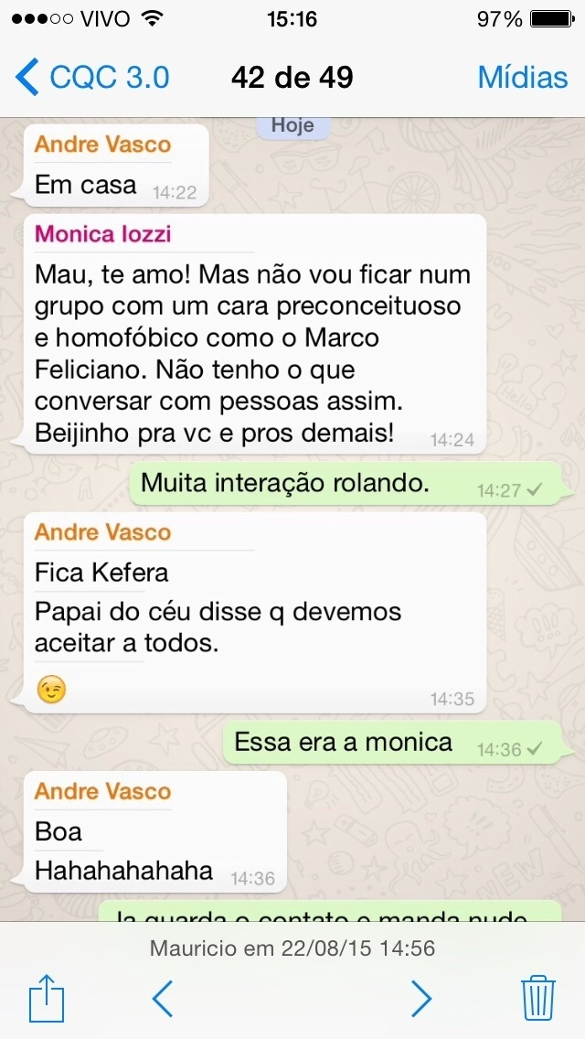 Mônica Iozzi deixa o grupo de conversas criado pelo CQC após um diálogo áspero com o deputado Marco Feliciano