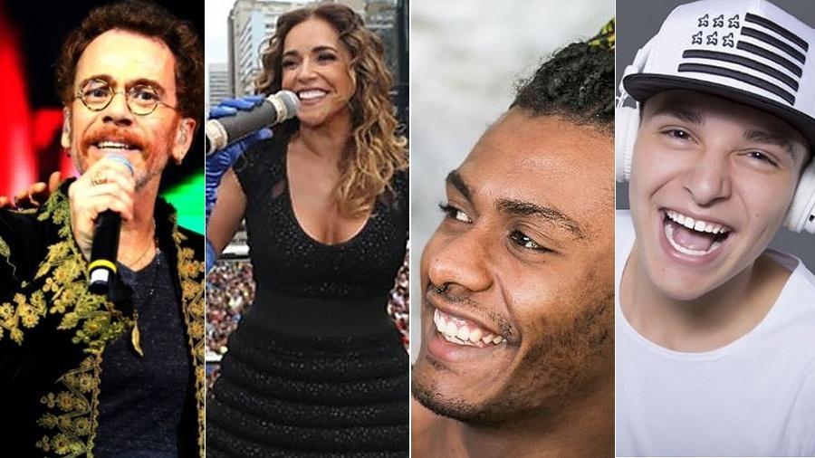 Nando Reis, Daniela Mercury, Liniker e Mc Gui estão entre as atrações da Virada Cultural 2017 - Montagem/UOL