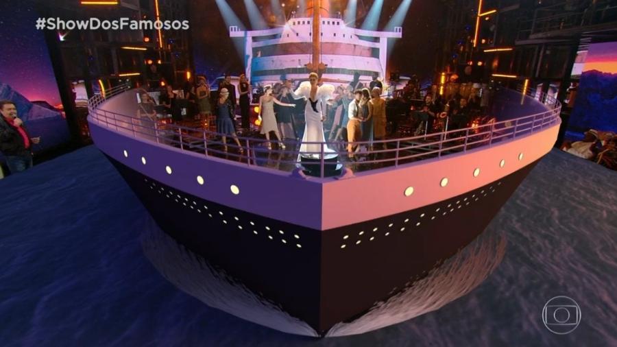 """""""Show dos Famosos"""" recria cena do filme """"Titanic"""" - Reprodução/TV Globo"""