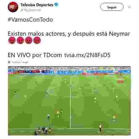 """Rede mexicana Televisa chama Neymar de """"ator ruim"""" - Reprodução/Twitter - Reprodução/Twitter"""