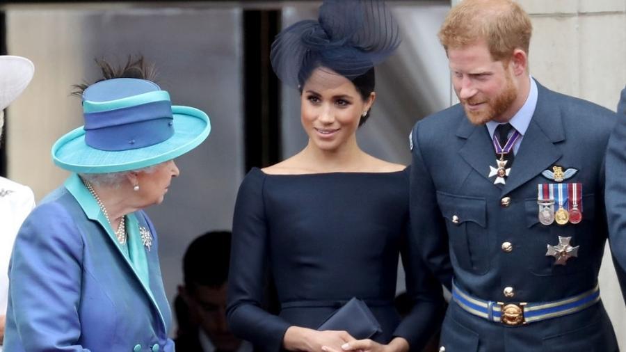 Rainha Elizabeth, Meghan Markle e Harry - Chris Jackson/Chris Jackson/Getty Images