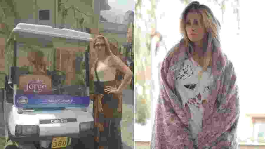 """Priscila Lopes como figurante na novela """"Salve Jorge"""" e como """"mendigata"""" em pegadinha na RedeTV! - Montagem/UOL/Reprodução/Facebook"""
