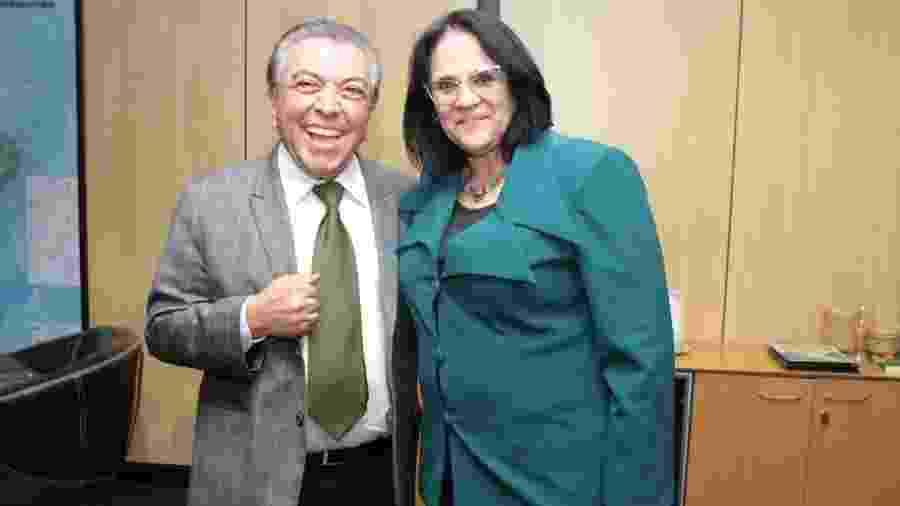 Maurício de Sousa e a ministra Damares Alves em Brasília - Divulgação