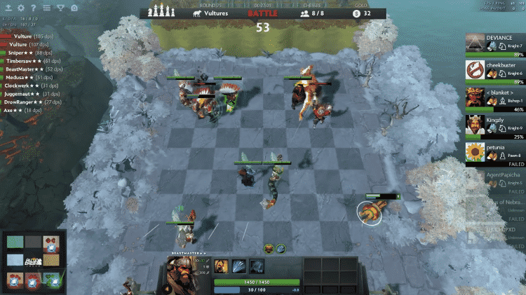 """Game estratégico """"Auto Chess"""" em Dota 2 tem batalhas em um tabuleiro de xadrez - Reprodução"""