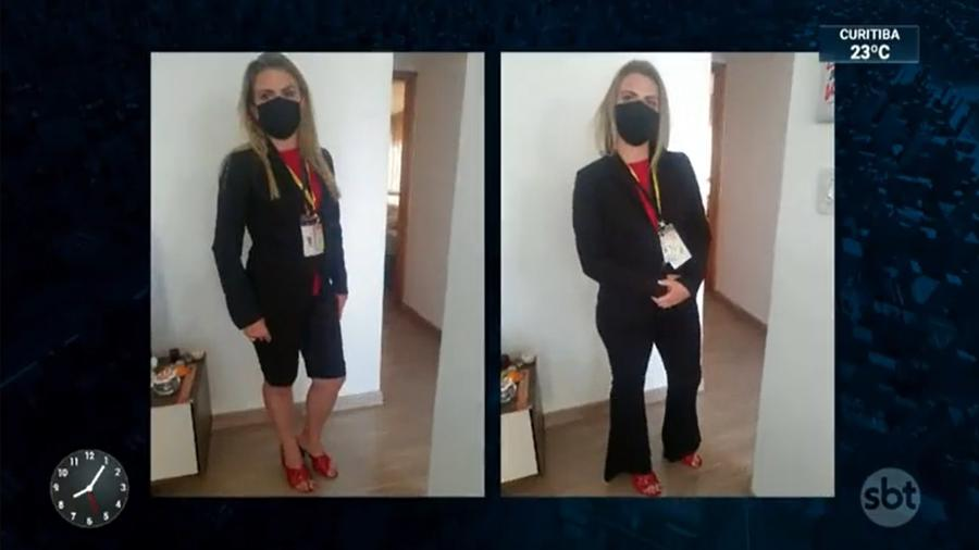 A repórter do SBT Nathalia Fruet trocou de roupa para entrar no Palácio do Planalto - Reprodução/SBT