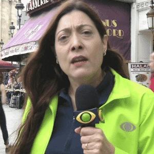16.jun.2016 - A repórter Sônia Blota, da Band, durante a cobertura da Eurocopa, na França - Reprodução/Band