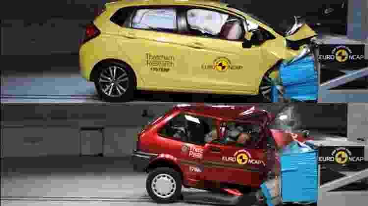 Honda Fit/Jazz ou Fit em comparativo de segurança com o Rover Metro/100 no Euro NCAP - Divulgação/Arte UOL Carros - Divulgação/Arte UOL Carros
