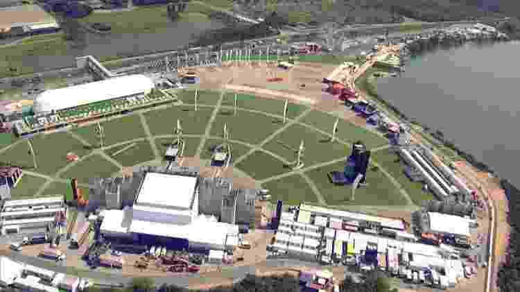 Imagem aérea do Parque dos Atletas, que recebeu o Rock in Rio entre 2011 e 2015 - Reprodução - Reprodução