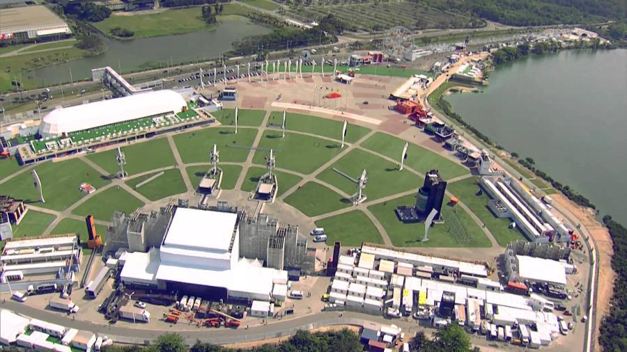 """Imagem aérea do Parque dos Atletas, onde seria montado o """"blocódromo"""" - Reprodução"""