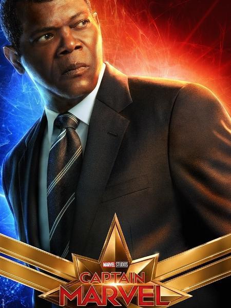 """Samuel L. Jackson, o Nick Fury, em pôster de """"Capitã Marvel"""" - Divulgação"""