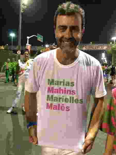 Marcelo Freixo desfila pela Mangueira homenageando a amiga Marielle Franco - Monique Arruda/UOL