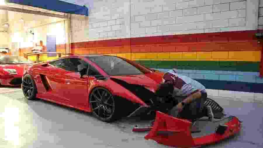 Lamborghini Gallardo Super Trofeo batida por Barrichello é consertada - Reprodução