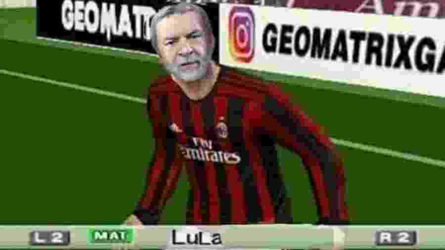 """""""Lula livre"""" entra em campo no """"Bomba Patch"""", que modifica game de futebol de PS2 - reprodução/Twitter"""
