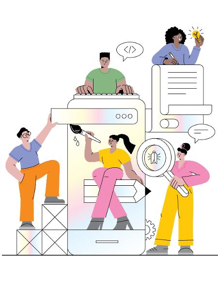 Various people creating mobile application. Editable vectors. - miakievy/Getty Images