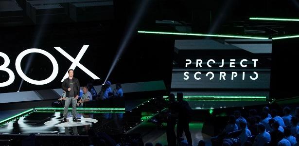 A Microsoft revelou pequenos detalhes do Scorpio na E3 2016, se resumindo a dizer que o novo videogame sairá no final de 2017 - Divulgação/ESA
