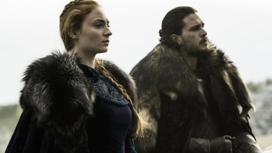 """Sansa e Jon Snow em cena de """"Game of Thrones"""" - Reprodução/HBO"""