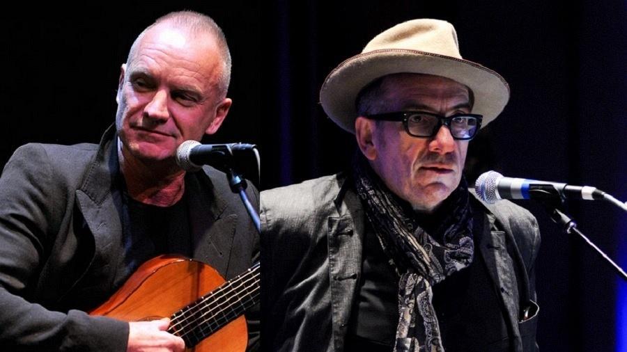 Os cantores Sting e Elvis Costello - Getty Imagens/Montagem