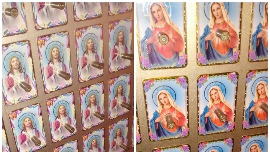 """Exposição """"Contraponto"""", em Brasília, traz imagens de Jesus e Virgem Maria com balas de revólver acopladas em seus peitos - Reprodução"""