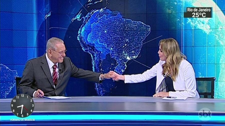 """Rachel Sheherazade se despede de Joseval Peixoto no """"SBT Brasil"""" - Reprodução/SBT"""
