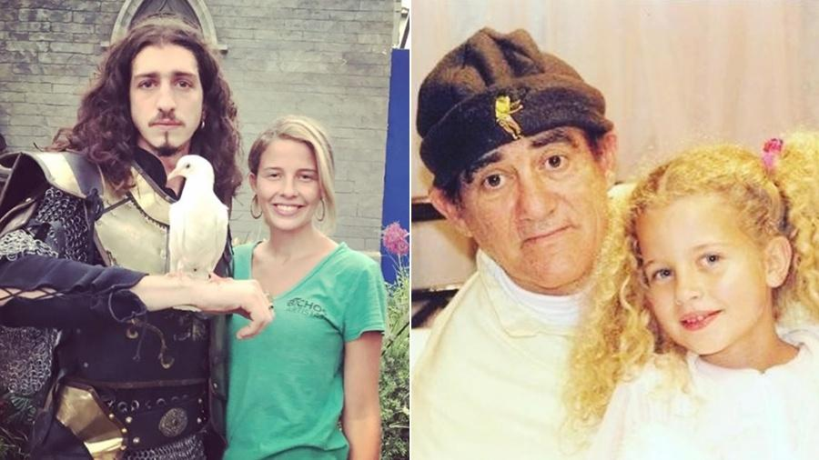 """Debby Lagranha na equipe de """"Deus Salve o Rei"""" e quando criança ao lado de Renato Aragão - Reprodução/Instagram/Montagem UOL"""