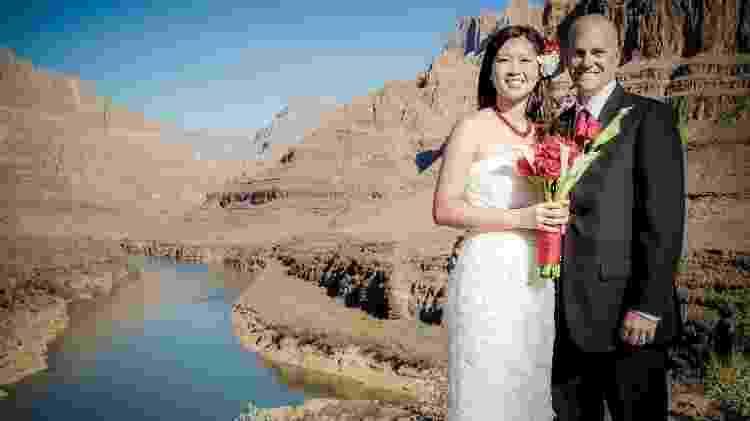 Casal celebra casamento no Grand Canyon após fazer passeio de helicóptero desde Vegas - Divulgação/Papillon Grand Canyon Helicopters - Divulgação/Papillon Grand Canyon Helicopters