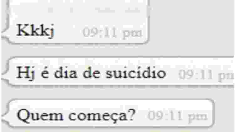 Print de conversa de WhatsApp de ex-membro do grupo mostra suposto incentivo ao suicídio - Reprodução - Reprodução