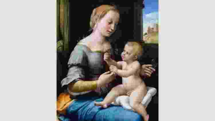 Em 'Madonna dos Cravos' do mestre da Renascença Rafael, um bebê Cristo entrega um ramo de cravos à Virgem Maria - Wikimedia - Wikimedia