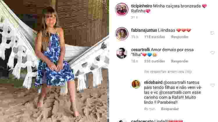 Cesar Tralli comenta foto de Rafa Justus publicada por Ticiane Pinheiro - Reprodução/Instagram