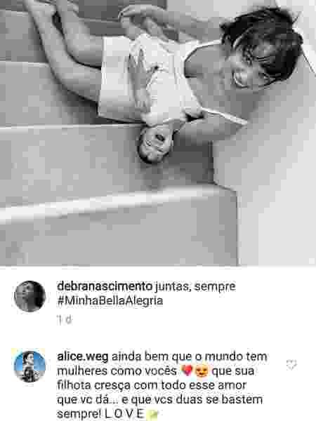 Alice Wegmann apoia Débora Nascimento após fim de casamento com José Loreto - Montagem/UOL/Reprodução/Instagram/debranascimento - Montagem/UOL/Reprodução/Instagram/debranascimento