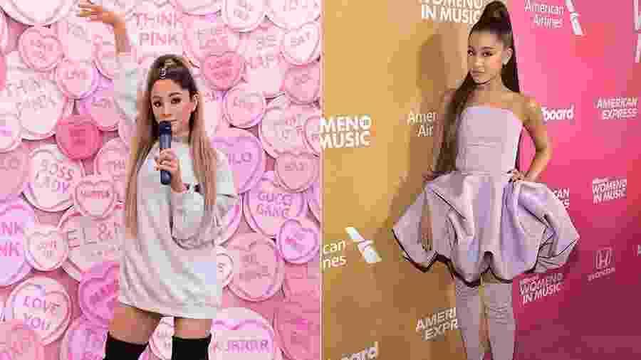 Ariana Grande de cera e Ariana Cera real: ficaram parecidas? - Reprodução/Twitter/Getty Images