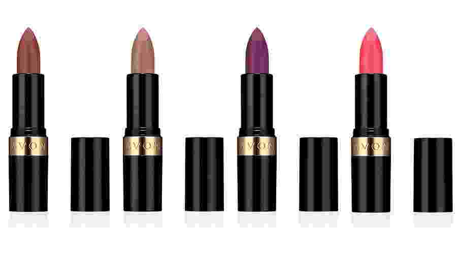 Algumas das cores do batom em bala Power Stay; da esq. para dir.: Nude Supremo, Ultra Nude, Roxo Vibrante e Rosa Total - Divulgação
